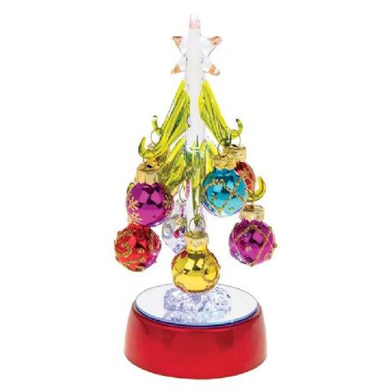 LED Glass Xmas Tree with Small Baubles